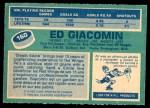 1976 O-Pee-Chee NHL #160  Ed Giacomin  Back Thumbnail