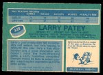 1976 O-Pee-Chee NHL #320  Larry Patey  Back Thumbnail
