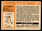 1972 O-Pee-Chee #32  Tom Miller  Back Thumbnail