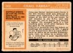 1972 O-Pee-Chee #262  Craig Ramsay  Back Thumbnail
