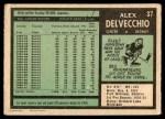 1971 O-Pee-Chee #37  Alex Delvecchio  Back Thumbnail