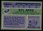 1976 Topps #50  Syl Apps  Back Thumbnail