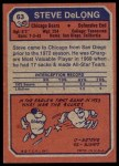 1973 Topps #63  Steve DeLong  Back Thumbnail