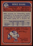 1973 Topps #101  Mike Siani  Back Thumbnail