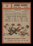 1962 Topps #15  Johnny Morris  Back Thumbnail