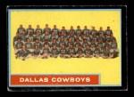 1962 Topps #49   Cowboys Team Front Thumbnail