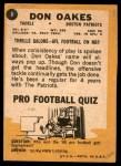 1967 Topps #8  Don Oakes  Back Thumbnail