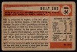 1954 Bowman #26 SS Billy Cox  Back Thumbnail