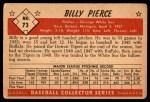1953 Bowman #73  Billy Pierce  Back Thumbnail