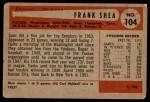 1954 Bowman #104  Frank Shea  Back Thumbnail
