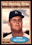1962 Topps #398   -  Don Drysdale All-Star Front Thumbnail