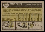 1961 Topps #366  Eddie Fisher  Back Thumbnail