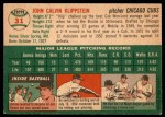 1954 Topps #31 WHT Johnny Klippstein  Back Thumbnail