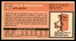 1970 Topps #156  Dave Newmark   Back Thumbnail