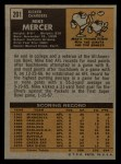 1971 Topps #201  Mike Mercer  Back Thumbnail