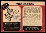 1968 O-Pee-Chee #123  Tim Horton  Back Thumbnail