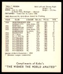 1965 Kahn's  Bill Virdon  Back Thumbnail