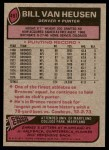 1977 Topps #497  Bill Van Heusen  Back Thumbnail