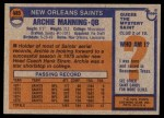 1976 Topps #485  Archie Manning  Back Thumbnail