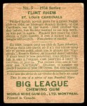 1934 World Wide Gum #5  Flint Rhem  Back Thumbnail