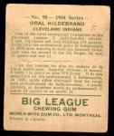 1934 World Wide Gum #95  Oral Hildebrand  Back Thumbnail