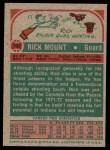 1973 Topps #192  Rick Mount  Back Thumbnail