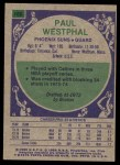 1975 Topps #186  Paul Westphal  Back Thumbnail