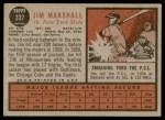 1962 Topps #337  Jim Marshall  Back Thumbnail