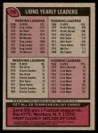 1977 Topps #209   Lions Team Checklist Back Thumbnail