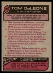 1977 Topps #283  Tom DeLeone  Back Thumbnail
