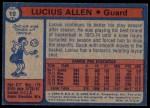 1974 Topps #19  Lucius Allen  Back Thumbnail