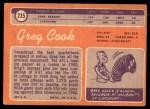 1970 Topps #235  Greg Cook  Back Thumbnail
