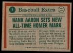1975 Topps #1   -  Hank Aaron Sets Homer Mark Back Thumbnail