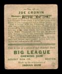 1933 Goudey #63  Joe Cronin  Back Thumbnail