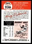 1953 Topps Archives #236  Harry Perkowski  Back Thumbnail