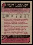 1977 Topps #76  Scott Laidlaw  Back Thumbnail