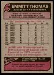 1977 Topps #129  Emmitt Thomas  Back Thumbnail