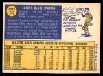 1970 Topps #243  Joe Sparma  Back Thumbnail