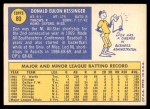 1970 Topps #80  Don Kessinger  Back Thumbnail