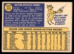 1970 Topps #272  Hector Torres  Back Thumbnail