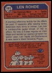 1973 Topps #181  Len Rohde  Back Thumbnail
