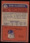 1973 Topps #193  Bob Gladieux  Back Thumbnail