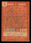 1952 Topps Look 'N See #5  Harry Truman  Back Thumbnail