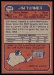 1973 Topps #334  Jim Turner  Back Thumbnail