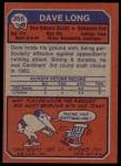 1973 Topps #356  Dave Long  Back Thumbnail