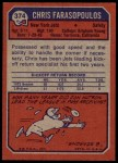 1973 Topps #374  Chris Farasopoulos  Back Thumbnail