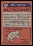 1973 Topps #452  Milt Sunde  Back Thumbnail