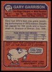 1973 Topps #375  Gary Garrison  Back Thumbnail
