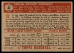 1952 Topps #32  Eddie Robinson  Back Thumbnail