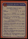 1973 Topps #139   Super Bowl VII Back Thumbnail